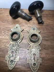 2 Sets BRASS  EASTLAKE DOOR PLATES W: Porcelain Black Door Knobs