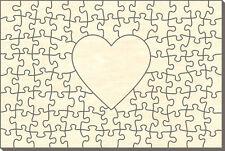 Blanko Holz-Puzzle Rechteck mit Herz, 91 Teile, 60x40 cm, zum Selbst Bemalen