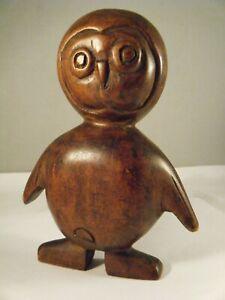 Vintage Folk Art Carved Wood Owl Figure