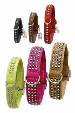 KARLIE BUFFALO LEATHER STRASS BIG CRYSTALS DOG COLLAR ONE ROW SMALL MANY COLOURS