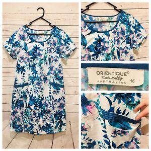 ORIENTIQUE Size 16 Gorgeous Floral White Blue Short Sleeve Dress with Pockets