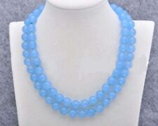 Long 36'' Natural 10mm Blue Jade Chalcedony Gemstone Round Beads Necklace