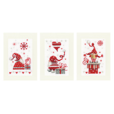 Vervaco Kit pour point de croix - Cartes de voeux - NOEL Gnomes - Lot de 3