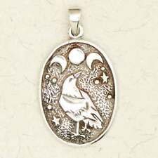 Celtic Moon Raven-Pewter/Druid/Pagan/Silver/Pendant/Celestial/Jewelry
