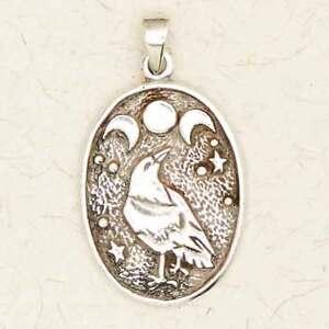 Celtic Moon Raven-Pewter Druid Pagan Irish Silver Pendant Celestial Jewelry