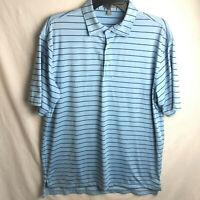 Peter Millar Summer Comfort Striped Polo Shirt Mens Size Medium Golf Blue
