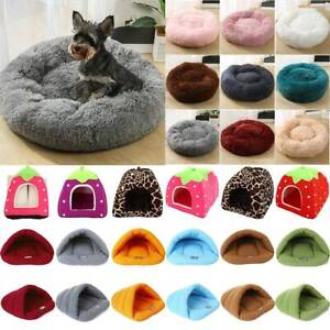 Pet Cat Dog Calming Bed Indoor Plush Round Nest Soft Comfy Sleeping Kennel Cave