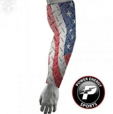 Titanium Baseball Compression Arm Sleeve USA Patriotic Diamond Plate Steel