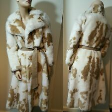 🦄 Vintage TYBER Faux Fur Coat Woven Simulated Fur Coat Jacket White Brown 12 14