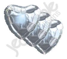 "3 pc - 18"" Solid Silver Heart Balloon Wedding Baby Bridal Shower Birthday Luau"