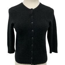So 100% Cashmere Black Cardigan Sweater 3/4 sleeve Girls XL (E-1J)