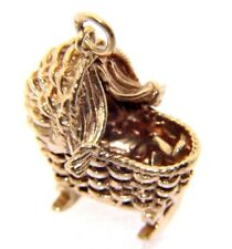 Vintage Solid 9ct 9carat Yellow Gold Baby in Rocking Cot Crib Charm / Pendant