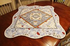 It's Tea Time! Embroidered Appliqued Tea Cups Daisies Tabletop Handmade Quilt