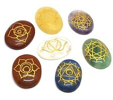 Set of Oval 7 Chakra Set with Engraved Reiki Carvings Reiki Healing