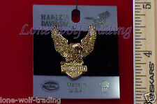 Harley Davidson Winged Eagle w/ Bar & Shield Pin-Gold-H715G-P