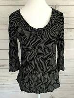 Dana Buchman Top Womens Small S Black Striped 3/4 Sleeve Cowl Neck Stretch