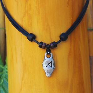 Halskette Dagaz Rune Wikingerschmuck Wikingerkette Lederkette Halsband Thor Odin