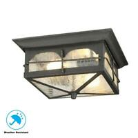 Home Decorators Collection Brimfield 2-Light Aged Iron Outdoor Flushmount Light