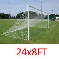 24 x 8Ft, 7.3 x 2.4M Football Soccer Goal Net Full Size Sports Training  ❤
