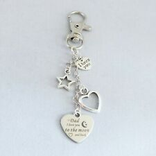 """Dad I Love you to the moon & back"" bag charm rhodium charms"