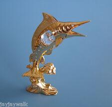 """SWAROVSKI CRYSTAL ELEMENTS """"SWORDFISH on WAVE"""" 24KT GOLD PLATED"""
