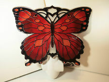Joan Baker Watercut Night Light-Red And Black Butterfly -New
