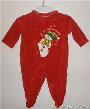 Babys First Christmas Red Holiday Snowman One Piece 3mo