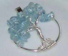 Tree of Life Necklace Pendant Aquamarine Wire Wrapped Silver March Birthstone