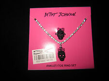 BETSEY JOHNSON SKULL WITH PINK BOW ANKLE BRACELET AND TOE RING