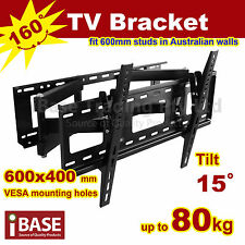 "LCD LED PLASMA FLAT TV WALL MOUNT BRACKET SWIVEL 37"" - 65"" VESA 600 MM BLACK"