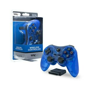 Wireless TTX Dual Vibration Shock Wave Controller for Sony PlayStation  PS2 BLUE