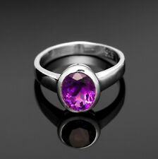 Stunning 925 Sterling Silver Ladies Amethyst Oval Gemstone Ring Jewellery Gift