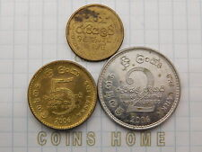 Cоins Hоme Lot 3 circulated 2006,09 Sri Lanka 1,2,5 Rupees Set#5EX17 Uncertified