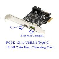 PCI-e To USB3.1 Type-C Expansion Card PCIe To USB 2.4A Fast Charge+19PIN Riser
