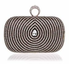 WOMENS DIAMANTE DIAMOND CLUTCH BAG WEDDING HANDBAG BLACK BLUE SILVER PURPLE