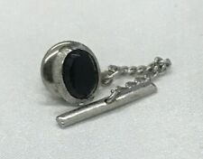 Black Sapphire Sterling Silver Tie Clip