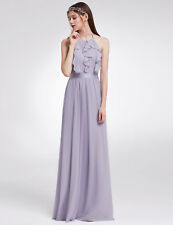 UK Womens Halter Ruffled Long Party Bridesmaid Evening Dress 07201 Ever-Pretty Dusty Lilac 14