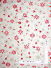 Snowflake Toss Red Scandinavian Christmas Cotton Fabric Makower Scandi - Yard