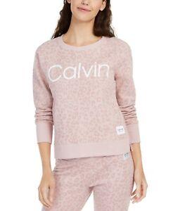 Calvin Klein Performance Women Animal-Print Logo Sweatshirt Cameo Pink Size XL