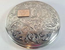 "Vintage continental 833 silver powder compact gravé floral monogramme ""iw"""