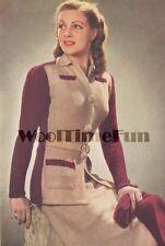 Vintage Knitting Pattern/Instructions Lady's 1940s/1950s Suit/Jacket/Skirt