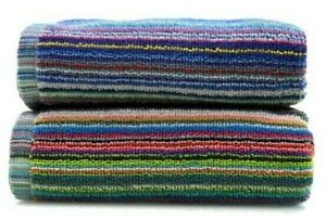 Odyssey 100% Cotton Colorful Remnant Stripe Absorbent Lightweight 2pk Towels