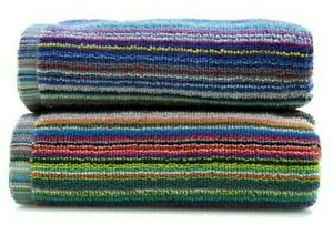 100% Recycled Cotton Colorful Remnant Stripe Absorbent Lightweight 2pk Towels