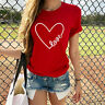 Heart Print Valentines T-shirt Women Casual Short Sleeve Tops Valentine's Day T