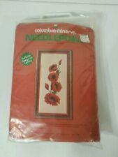 Vintage Columbia Minerva Needle Point Idea Kit Poppies 1975 New CM Famous Barr