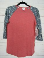 Lularoe Women's Randy Heathered Red with Black Sleeves Top Size Small NWT