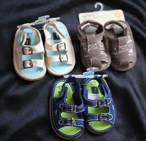 Carter's Baby Boy Layette Summer Sandal Shoes Beige/Navy size 1/2/4