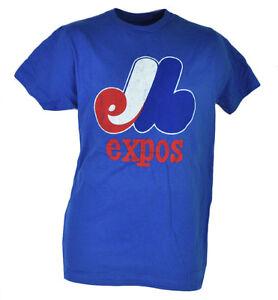 MLB Montreal Expos Blue Tshirt Tee Short Sleeve Crew Neck Mens Distressed Sports