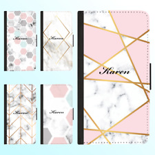 Galaxy S20 Ultra Note 20 10 Plus Flip Wallet Case Marble II Personalised Name