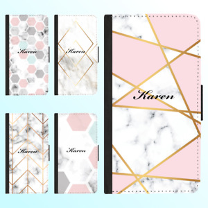 For Galaxy S21 Ultra S20 10 Plus 9 Flip Wallet Case Marble II Personalised Name